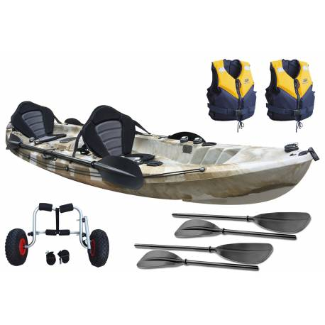 Galaxy Cruz Tandem Pack Paseo with two lifejackets and transport